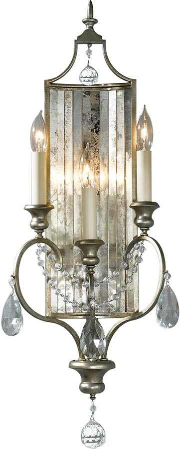 Feiss Gianna Large Gilded Silver 3 Lamp Wall Light