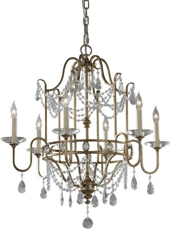 Feiss Gianna Gilded Silver 6 Light Crystal Chandelier
