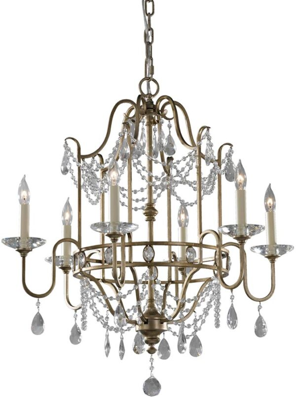 Feiss Gianna Gilded Silver 6 Light Crystal Chandelier