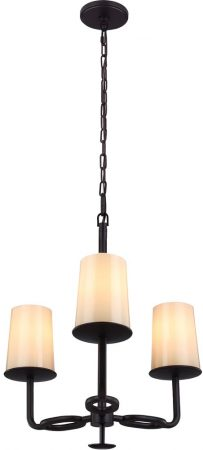 Feiss Huntley Bronze 3 Light Chandelier With Ivory Glass Shades