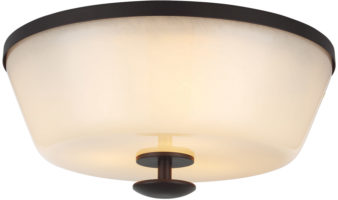 Feiss Huntley Bronze Flush 3 Light With Ivory Glass Shade