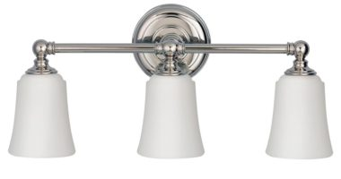 Feiss Huguenot Lake Chrome 3 Light Bathroom Over Mirror Light Opal Glass Shades