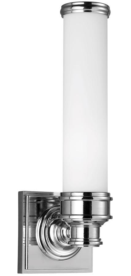 Feiss Payne 1 LED Bathroom Wall Light Polished Chrome Opal Glass