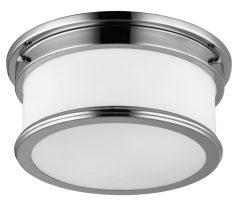 Feiss Payne 2 LED Flush Bathroom Ceiling Light Polished Chrome Opal Glass