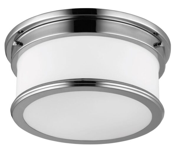Feiss Payne 2 LED Flush Bathroom Ceiling Light Polished Chrome Opal Glass