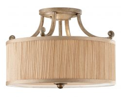 Feiss Abbey Silver Sand 3 Light Semi Flush Mushroom Pleat Drum