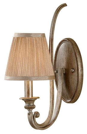 Feiss Abbey Silver Sand Single Wall Light With Mushroom Pleat Shade