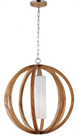 Feiss Allier 1 Light Small Pendant Globe Light Oak