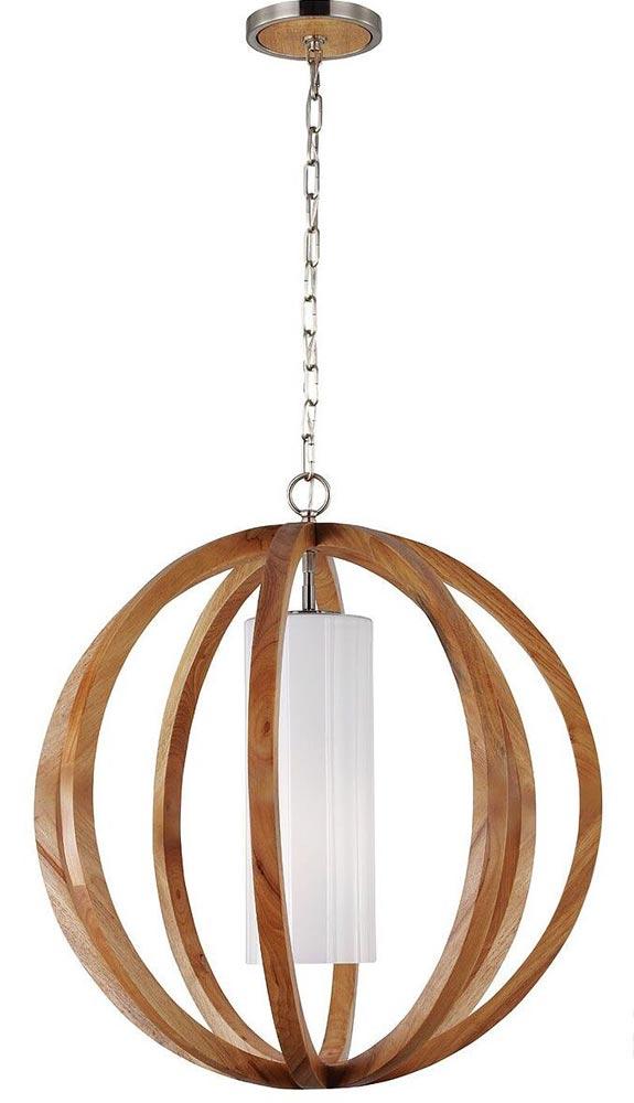 Feiss Allier 1 Light Small Pendant Globe Light Oak
