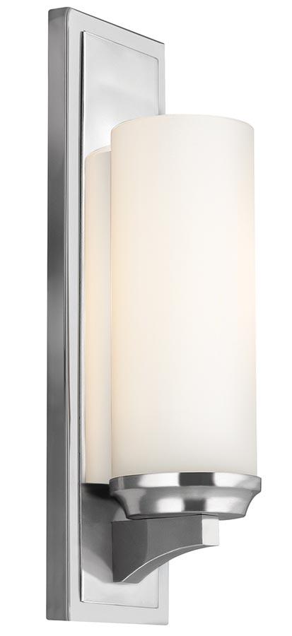 Feiss Amalia Large Bathroom Wall Light Polished Chrome Opal Glass Shade