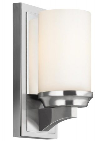 Feiss Amalia Small Bathroom Wall Light Polished Chrome Opal Glass Shade