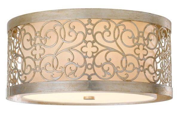 Feiss Arabesque Flush 2 Light Silver Leaf Drum Ivory Linen Fabric