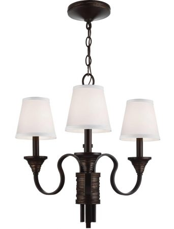 Feiss Arbor Creek 3 Light Chandelier Arbor Bronze With Ivory Linen Shades