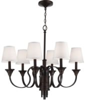 Feiss Arbor Creek 6 Light Chandelier Arbor Bronze With Ivory Linen Shades
