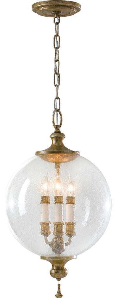 Feiss Argento 3 Light Oxidised Silver Leaf Pendant Glass Orb