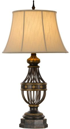 Feiss Augustine 1 Light Table Lamp Antique Brown With Cream Shade