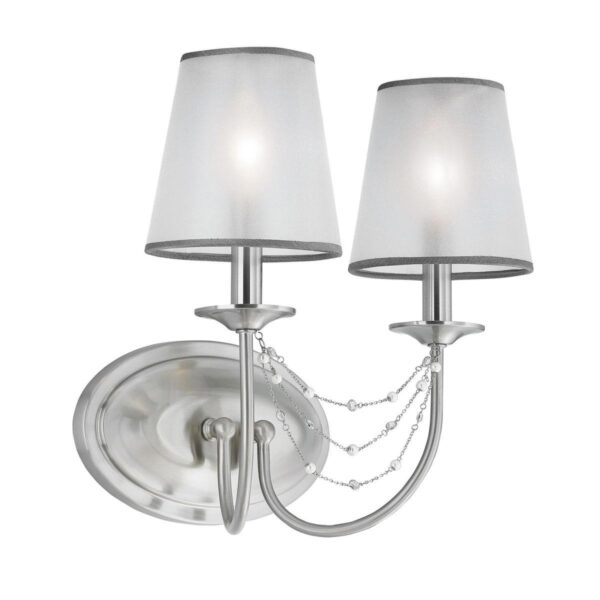 Feiss Aveline Brushed Steel Twin Wall Light With Organza Shades