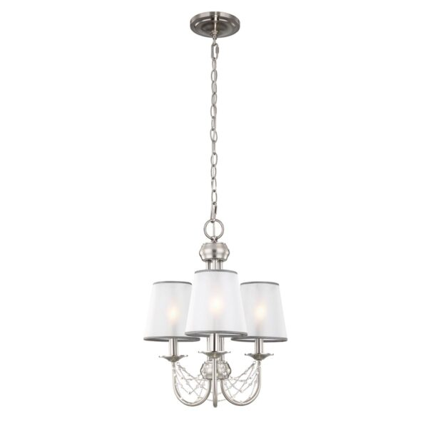 Feiss Aveline Brushed Steel 3 Light Chandelier With Organza Shades