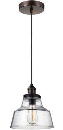 Feiss Baskin Aged Brass 1 Light Chimney Glass Ceiling Pendant