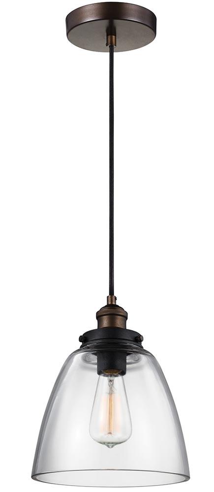 Feiss Baskin Aged Brass 1 Light Clear Bell Glass Ceiling Pendant