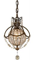 Feiss Bellini 1 Light Crystal Mini Pendant Globe Oxidised Bronze