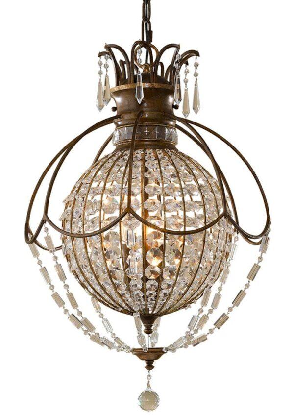 Feiss Bellini 3 Light Crystal Pendant Globe Oxidised Bronze