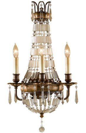 Feiss Bellini Regency Style 3 Light Crystal Wall Light Oxidised Bronze