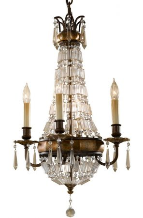 Feiss Bellini 4 Light Quartz Crystal Chandelier Oxidised Bronze