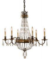 Feiss Bellini 6 Light Quartz Crystal Chandelier Oxidised Bronze
