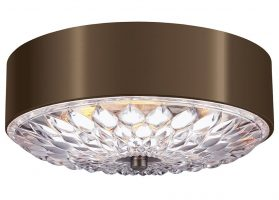 Feiss Botanic Medium 3 Light Flush Ceiling Light Dark Aged Brass Floral Glass