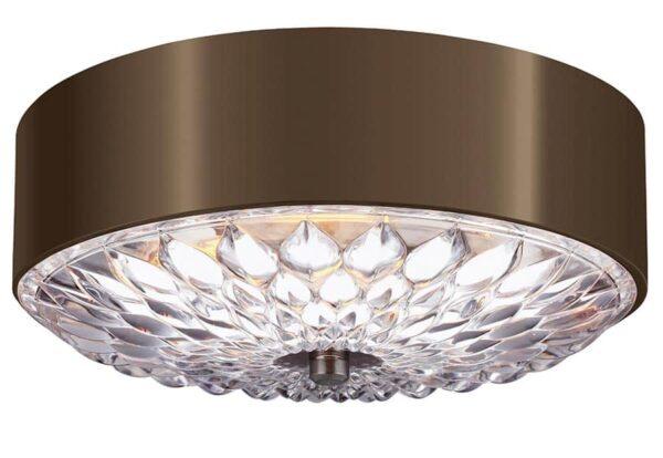 Feiss Botanic Small 3 Light Flush Ceiling Light Dark Aged Brass Floral Glass