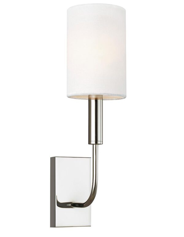 Feiss Brianna 1 Lamp Wall Light Polished Nickel White Linen Shade
