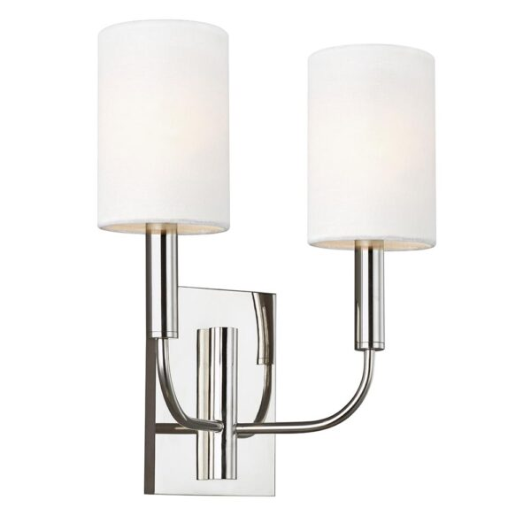 Feiss Brianna Twin Wall Light Polished Nickel White Linen Shades