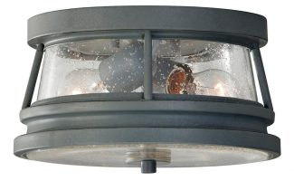 Feiss Chelsea Harbor 2 Light Flush Outdoor Porch Light Storm Cloud Grey
