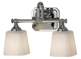 Feiss Concord 2 Light Bathroom Over Mirror Light Opal Glass Shades