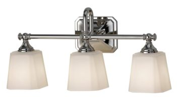 Feiss Concord 3 Light Bathroom Over Mirror Light Opal Glass Shades