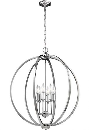 Feiss Corinne 6 Light Large Pendant Orb Polished Nickel Crystal Inlay