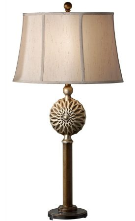 Feiss Davidson Table Lamp Firenze Gold With Silk Lined Mocha Shade