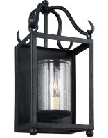 Feiss Declaration 1 Light Wall Lantern Antique Forged Iron Seeded Glass
