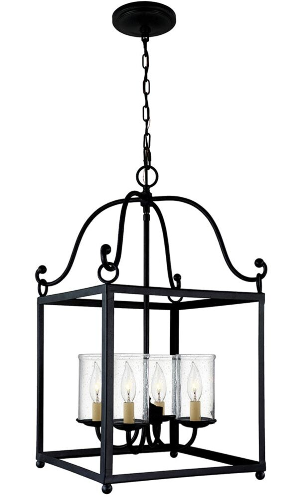 Feiss Declaration 4 Light Pendant Lantern Antique Forged Iron Seeded Glass
