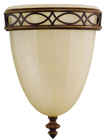 Feiss Drawing Room 1 Light Wall Up Lighter Walnut Amber Scavo Glass