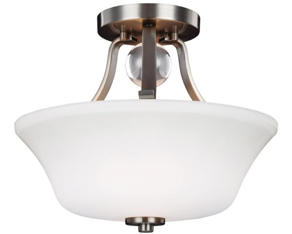 Feiss Evington 2 Light Semi Flush Satin Nickel Opal White Glass