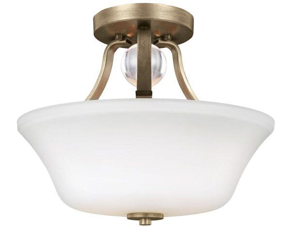 Feiss Evington 2 Light Semi Flush Sunset Gold Opal White Glass
