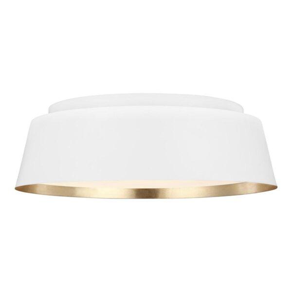 Feiss Asher Matte White 3 Light Flush Low Ceiling Light Gold Leaf Inner