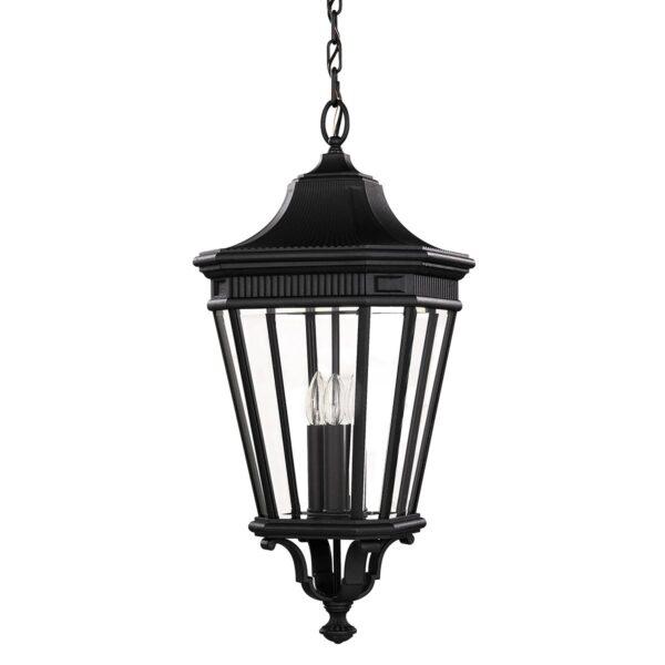Feiss Cotswold Lane 3 Light Large Hanging Outdoor Porch Lantern Black