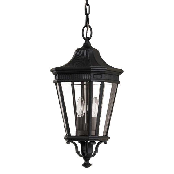 Feiss Cotswold Lane 2 Light Medium Hanging Outdoor Porch Lantern Black