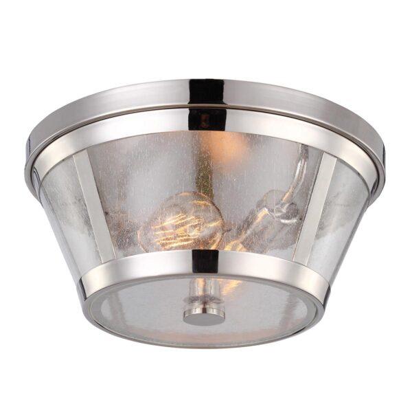 Feiss Harrow Polished Nickel 2 Lamp Flush Ceiling Light Seeded Glass