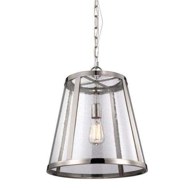 Feiss Harrow Medium Polished Nickel Ceiling Pendant Light Seeded Glass