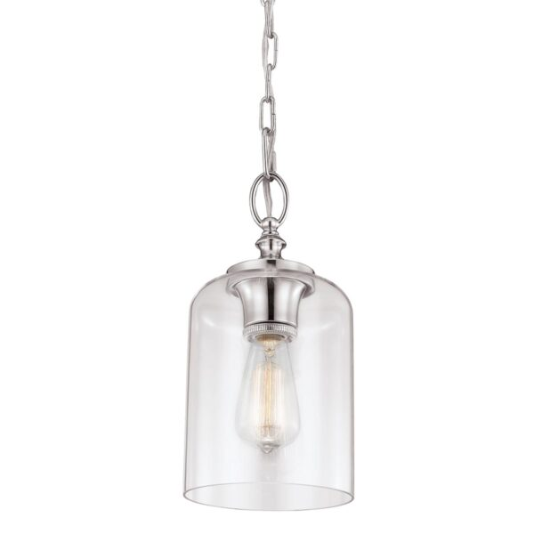 Feiss Hounslow Polished Nickel 1 Light Mini Pendant With Clear Glass