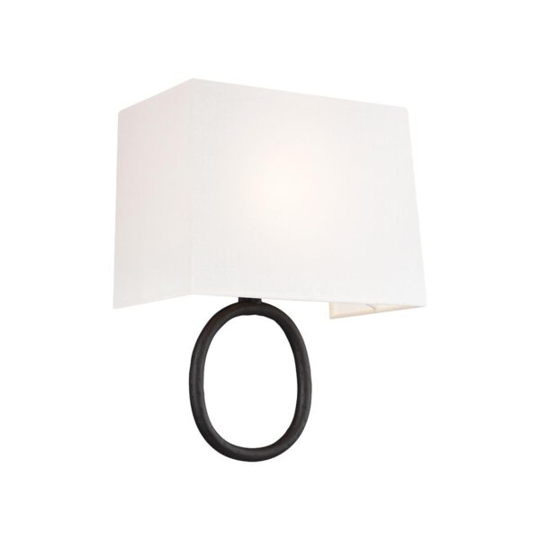 Feiss Indo Sculpted Oval 1 Lamp Wall Light Aged Iron White Linen Shade